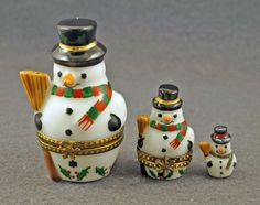 3 PC SET 2 NESTING BOXES ONE FIGURINE SNOWMAN CHRISTMAS FRENCH LIMOGES BOX #Limogesbox