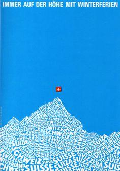 Afiche de viaje a favor de la icónica Suiza (1960s).