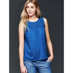 Gap Women Embroidered Yoke Tank ($45) ❤ liked on Polyvore featuring tops, blue edge, regular, embroidered tank top, gap tops, embroidered top, sleeveless tank and shirred top