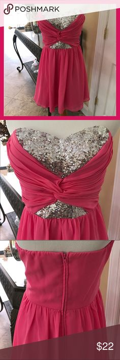 🎀Pink Sequined Party Dress🎀 Fabulous strapless pink party dress w sequined bodice. Perfect for any occasion. Brand new w/o tags Dresses Strapless