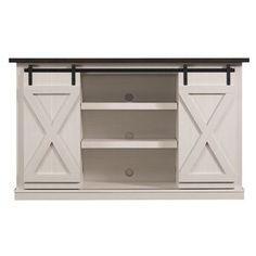 Three Posts Lorraine TV Stand for TVs up to 60 inches Colour: Off-White/Espresso Lorraine, Barn Door Tv Stand, Barn Style Sliding Doors, Particle Board, Wood Cabinets, Counter Stools, Bar Counter, Engineered Wood, Adjustable Shelving