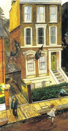 Carel Weight - The Witches Are Here 1984 London Painting, Royal College Of Art, Halloween Art, Mellow Yellow, Landscape Art, Urban Landscape, Figure Painting, Figurative Art, Art Images