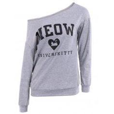 Casual Scoop Neck Long Sleeve Letter Printed Pullover Sweatshirt
