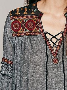 Always drawn to ethnic lace up tunics/ shirts. :) Free People Ties To Florence Dress at Free People Clothing Boutique Ethno Style, Gypsy Style, Hippie Style, Bohemian Style, Boho Chic, My Style, Look Fashion, Womens Fashion, Fashion Trends