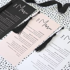 Are you interested in our personalised tassel wedding menus? With our wedding menu cards you need look no further. Are you interested in our personalised tassel wedding menus? With our wedding menu cards you need look no further. Wedding Menu Template, Wedding Menu Cards, Wedding Table Settings, Wedding Stationery, Wedding Invitations, Place Settings, Invites, Menu Brunch, Wedding Band