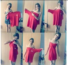 DIY tshirt dress... seems legit for a skinny girl, maybe a few adjustments to the neck hole for a better fit