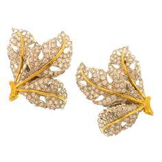 M. BUCCELLATI Diamond Leaf Earclips