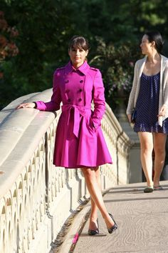 Lea Michele's Fuchsia Trench Coat. I must have one. @Karen Jacot Leckie