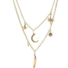 Charlotte Russe Celestial Layered Charm Necklace ($6) ❤ liked on Polyvore featuring jewelry, necklaces, accessories, gold, star charms, layered necklace, rhinestone charms, lobster claw clasp charms and rhinestone necklace