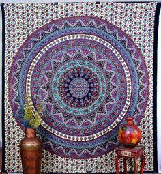Mandala Multi Color Indian Tapestry Wall Hanging Printed Bed Sheet Decor DBS099 #IndianTapestry