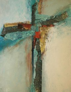 """Cruciform Comp - Original Fine Art for Sale - © by Donna Holdsworth Nativity Painting, Cross Art, Contemporary Abstract Art, Cross Paintings, Scripture Art, Sacred Art, Hanging Art, Religious Art, Art Blog"