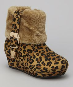 Another great find on #zulily! Brown Leopard Faux Fur Mia Wedge Boot #zulilyfinds