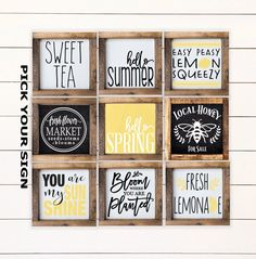 Check out our tiered tray signs selection for the very best in unique or custom, handmade pieces from our wall hangings shops. Summer Diy, Summer Crafts, Spring Summer, Early Spring, Coffee Bar Signs, Coffee Bars, Coffee Nook, Lemonade Sign, Lemon Kitchen