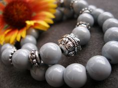 Silver & grey glass bracelet