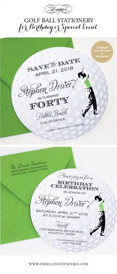 Golf Balls - Custom Golf Ball Cards - Perfect for a Golf Themed Party. Golf Ball Save the Date cards or can also be created as a Golf Ball Invitation. Perfect for a Birthday or Corporate Golf Event. Colors can be customized. www.embellishedpa...