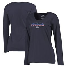 Colorado Avalanche Fanatics Branded Women's Plus Sizes Spangled Script Long Sleeve T-Shirt - Navy