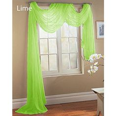 "Gorgeous Home 1 PC SOLID LIME GREEN SCARF VALANCE SOFT SHEER VOILE WINDOW PANEL CURTAIN 216"" LONG TOPPER SWAG"