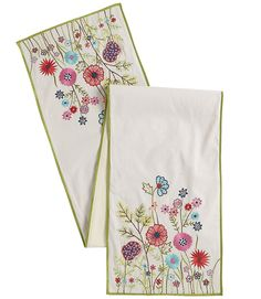 This is so much more vibrant in person!  Our Garden Table Runner brings a mod look to cheerful and bright flowers