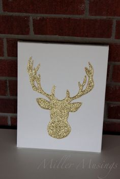 DIY glittery reindeer (or snowman, or Christmas tree, or Santa) canvas