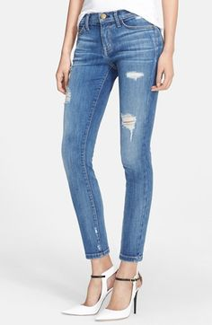 Current/Elliott 'The Stiletto' Destroyed Skinny Jeans (Niagara Destroy) (Nordstrom Exclusive) available at #Nordstrom