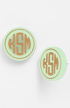 Moon and Lola 'Chelsea' Medium Personalized Monogram Stud Earrings (Nordstrom Exclusive) | Nordstrom OMG! I would love these in any color!