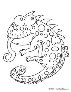 Funny chameleon coloring page