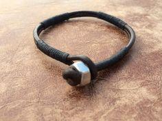 Black and Brown Guys Leather Wrap Bracelet Rustic por urbanlanding