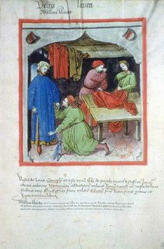 Marchand de vêtements de laine.  Albucasis, Tacuinum sanitatis, Allemagne (Rhénanie), XVe siècle.  Paris, BnF, département des Manuscrits, Latin 9333, fol. 103