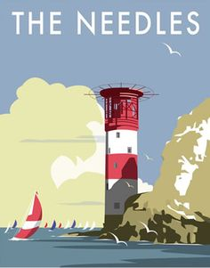 The Needles, Isle of Wight. By Illustrator Dave Thompson wholesale fine art print