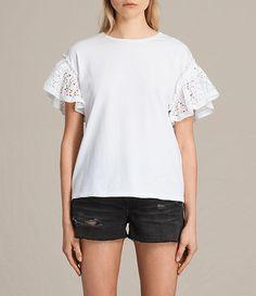 Women's Trixi Ruffle Top (Chalk White) -