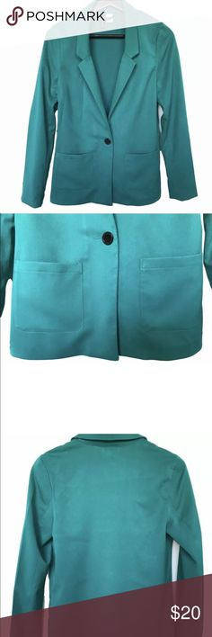H&M Women's Turquoise Blazer Size US 4 • 100% Polyester  • One button blazer  • Two front pockets  • Long sleeve  • Smoke free H&M Jackets & Coats Blazers