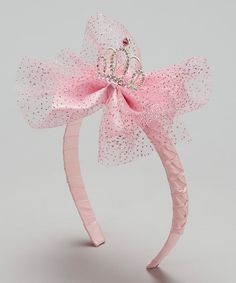 This Pink Glittering Tiara & Bow Headband by Frills du Jour is perfect! #zulilyfinds