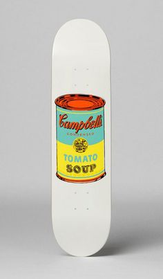 "Skateboard art - Andy Warhol - ""Colored Campbell's Soup Yellow"" - from The Skateroom"