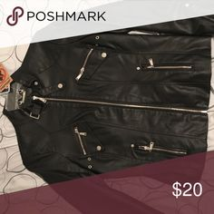 Leather jacket Black leather with zippers Jou Jou Jackets & Coats
