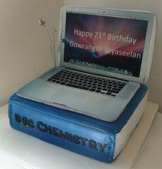 Book & Laptop Cake