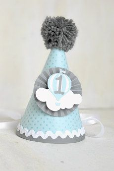 Baby Blue and Grey Hot Air Balloon Party Hat  Up Up and Away