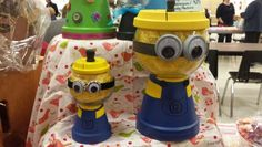 3. Minion candy jar from clay pot.Actually made this and turned out Awesome! I used black felt strips for the hair so I could make funny hair styles and plastic bottle caps for the eye bases