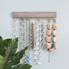 driftwood gray wood hanging necklace display rack and organizer with gold (brass) or nickel (silver) hooks