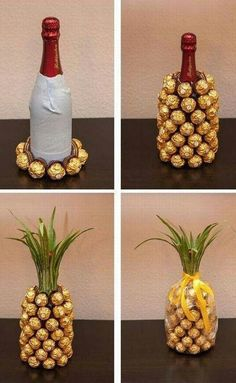 Such a cute wedding or birthday gift idea! A champagne or wine bottle covered in Ferrero Rocher candies, decorated to look like a pineapple! (to go with new pineapple stamps from SU!)