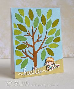 Used the Papertrey Ink Mighty Oak Cover Plate die,  cut out the stitched hill Landscape Trio from Mama Elephant, colored and die cut out the darling little Mama Elephant girl from the In My Heart Stamp set, and mounted her on the little hill with foam tape. Lastly, the hello sentiment from Clearly Besotted was cut out, twice, and glued together.