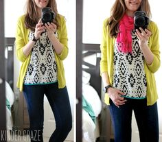 Like the layering of sprint and solid cardigan. Probably not my color cardigan, but the idea for work.