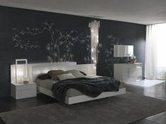 черный цвет в спальне