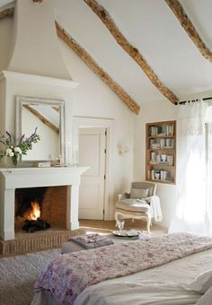 Gallery photos for chambre romantique idee deco Bedroom Fireplace, Fireplace Design, Fireplace Ideas, Craftsman Fireplace, Farmhouse Fireplace, Home Decor Bedroom, Modern Bedroom, Bedroom Furniture, Bedroom Ideas