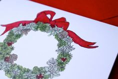 Succulent Wreath Christmas Cards by SucculentPost on Etsy