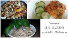 Selber-Macherin: Essensplan 12.12.2016 – 18.12.2016, inklusive vegetarischer Alternativen  #Essensplan #kochen #Rezepte