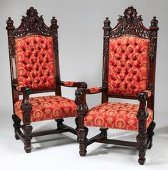 Jacobean Style Throne Chairs ~ Liveauctioneers.com