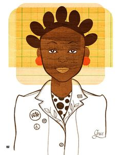Yearbook Grace African American Girl Illustration by Tabitha Brown
