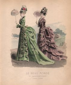 French Victorian Fashion Plate from Le Beau Monde 1870 (Print or Digital Image).