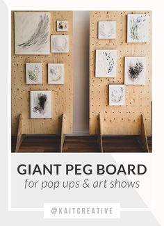 oversized peg boards to display abstract artwork. Collapsable for easy transport to new venues. Great for trades shows and pop ups. Craft Fair Displays, Vendor Displays, Market Displays, Display Ideas, Market Stall Display, Vendor Booth, Retail Displays, Jewelry Displays, Market Stalls