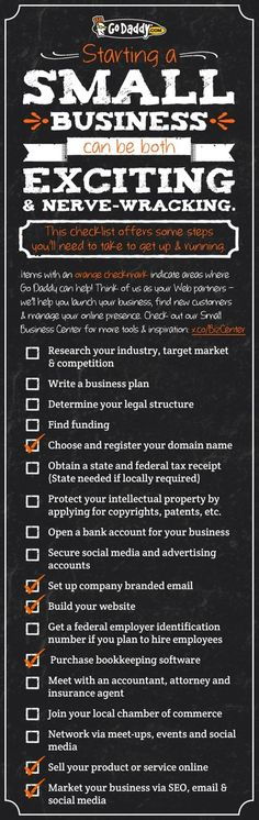 18 Step Small Business Startup Checklist. Starting a small business can be both exiting and nerve-wrecking. This checklist designed by hosting company GoDaddy offers pitches some GoDaddy services but also provides some valuable info on the steps you'll need to take at get up and running. #smallbusiness #startup #startupchecklist